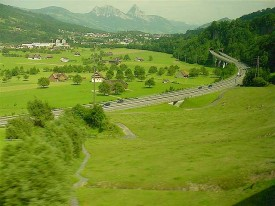 Autobahn beside the Lake Zug