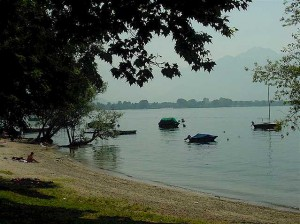 the lake in the direction of Tenero, the beginning of the lake