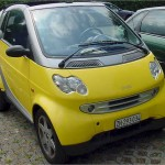 Yellow smart car front