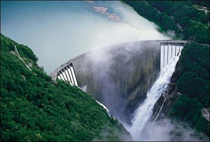 Dam with sluice gates open