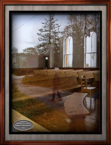 chapel and reflection in window