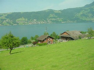 Zugersee - Lake Zug with typical Swiss houses