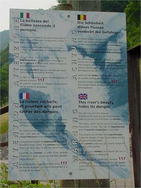 Verzasca river warning sign
