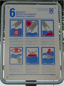Rules for swimming in the lake