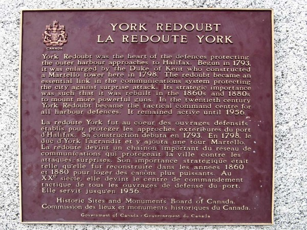 plaque about York Redoubt